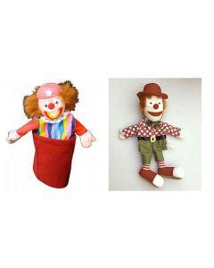 Clown Body Puppet and Clown Pop-Up Hand Puppet Set